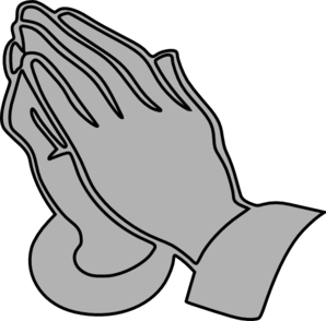 Prayer vector black and white. Gray praying hands clip