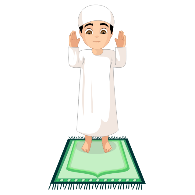 Prayer vector animated. Step by muslim guide