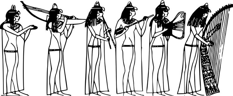 Prehistoric drawing ancient egypt. Music history and a