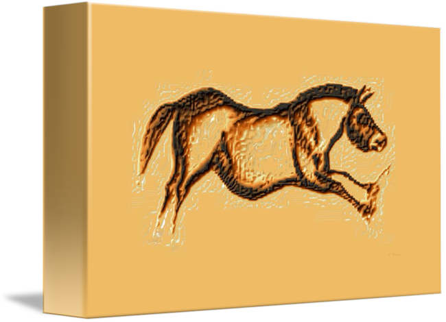 Prehistoric drawing horse. Galloping brown by l