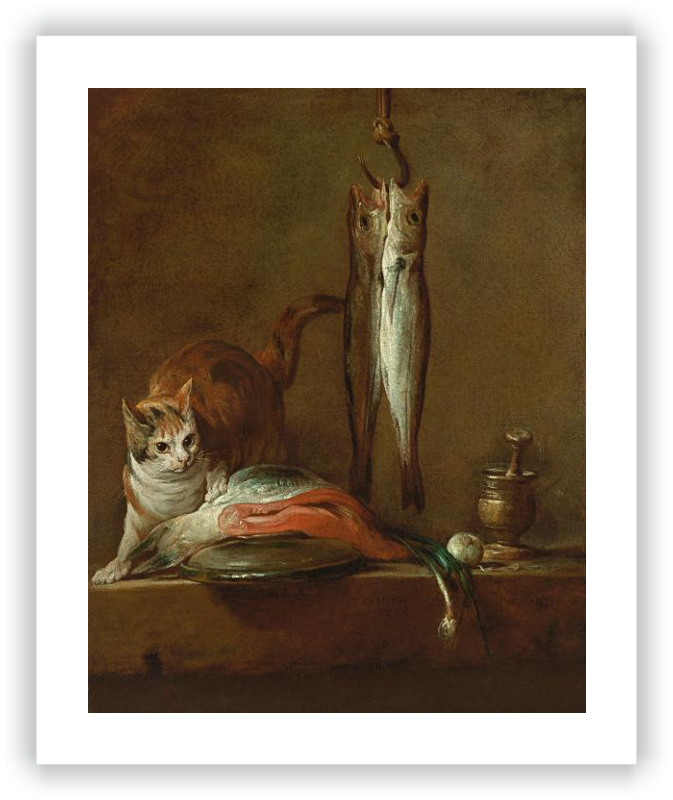 Preparatory drawing famous. Still life with cat