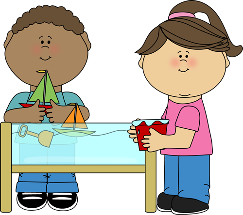Craft clipart craft table. Kids playing at a
