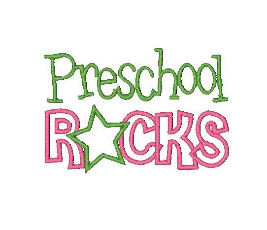 Preschool clipart rock. Applique school embroidery design
