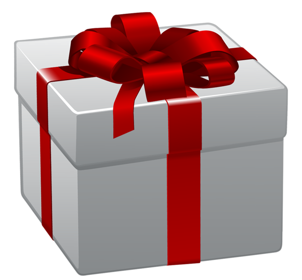 Present box png. White gift with red
