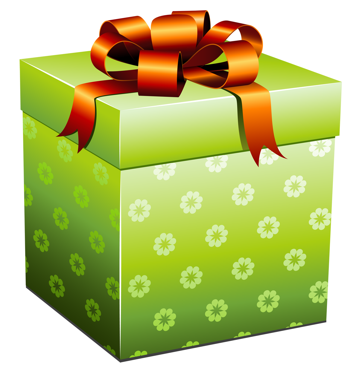 Present gift png. Green box with red