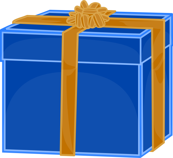 Present clipart blue present. Gift with golden ribbon