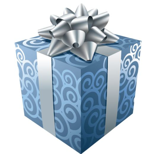 Present clipart blue present. Gift with silver ribbon