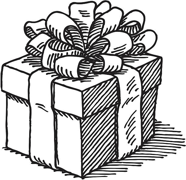 Present clipart drawing. Black and white gift