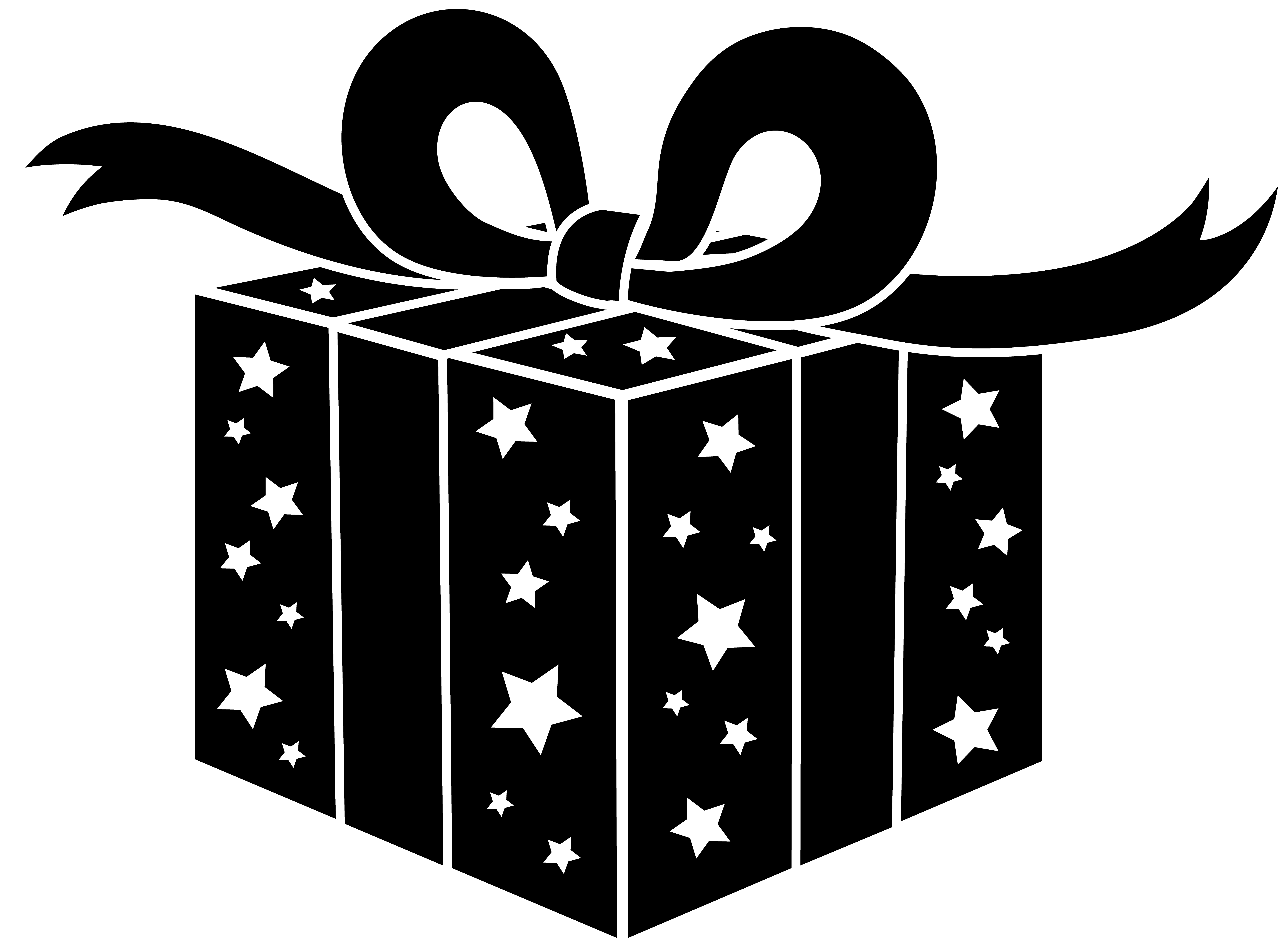 Present clipart party. Black and white gift