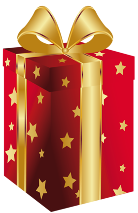 Winner clipart gift. Red present with gold