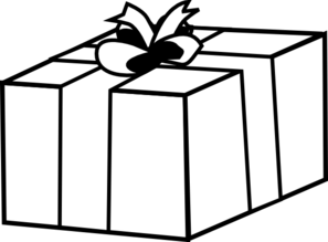 Drawing present regalo. Black and white clipart
