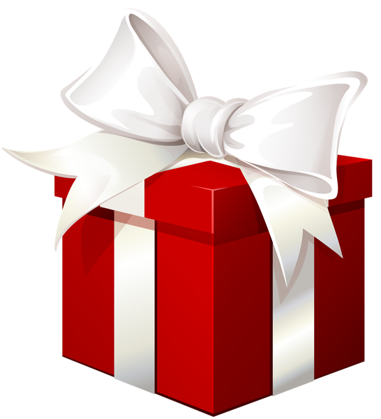 Present transparent png. Red gift box with