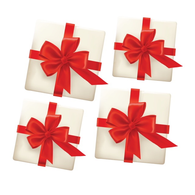 Red gift box with. Vector embellishment christmas clipart free