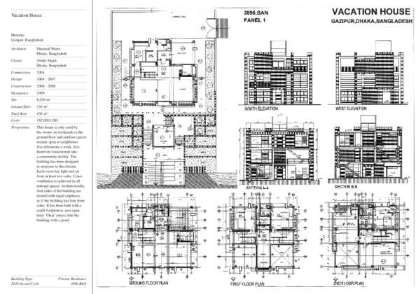 Presentation drawing. Vacation house panels archnet