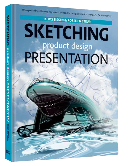 Portfolio drawing industrial design. Sketching product presentation