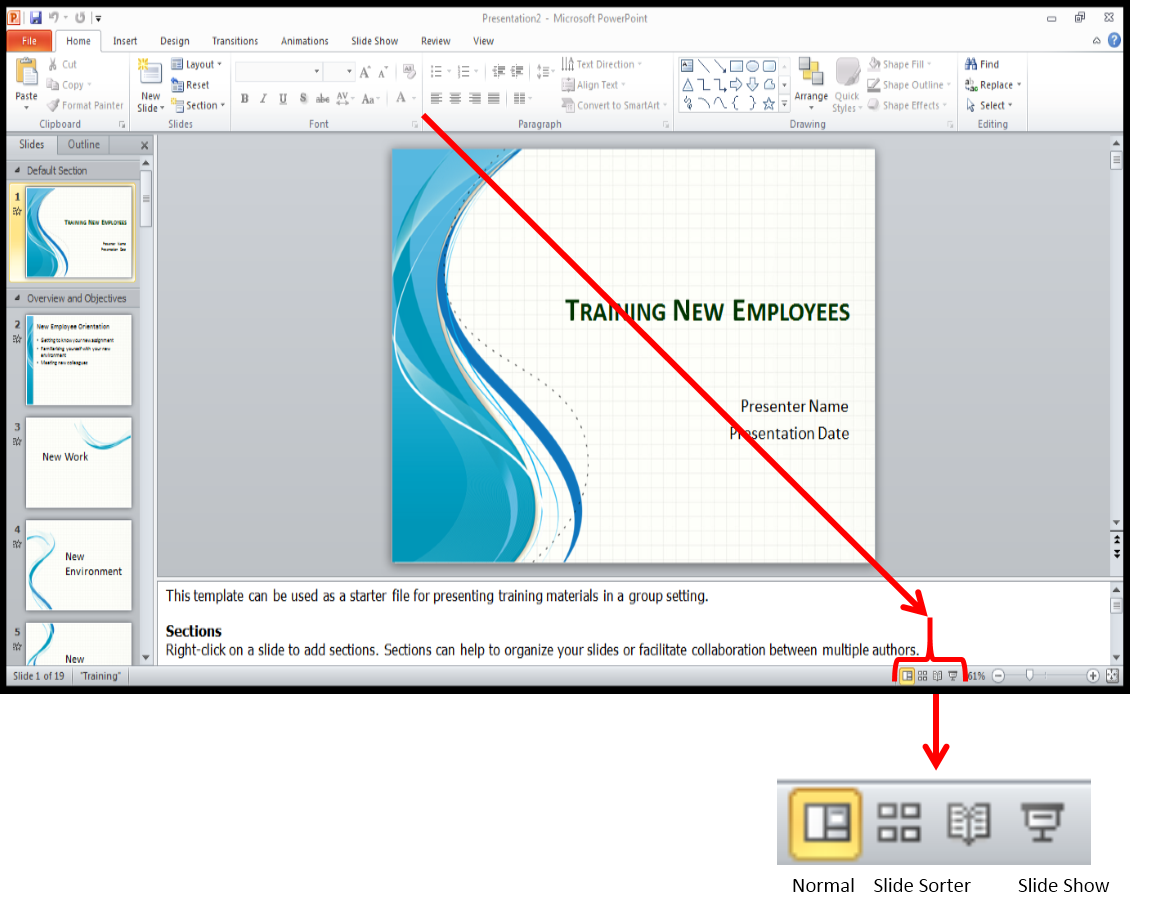 Presentation drawing slide. Powerpoint using the reading