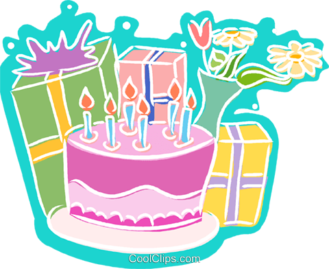 Presents clipart cake. Birthday royalty free vector