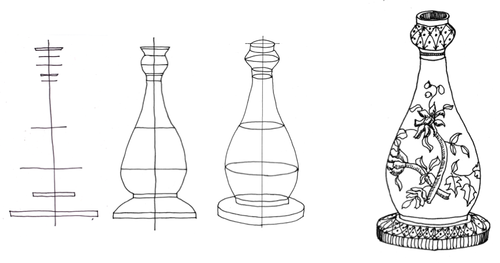 Prespective drawing bottle. Drawn line draw pencil