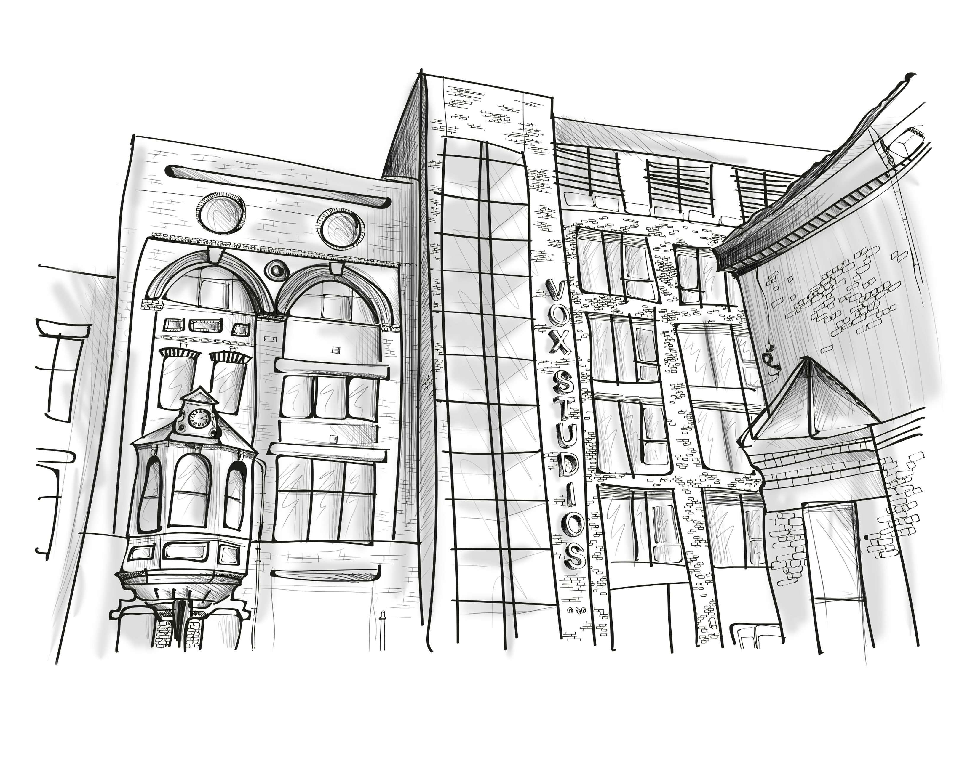 Architectual drawing black and white. Collection of free street