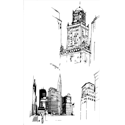 Prespective drawing skyscraper. Gallery entry images perspective