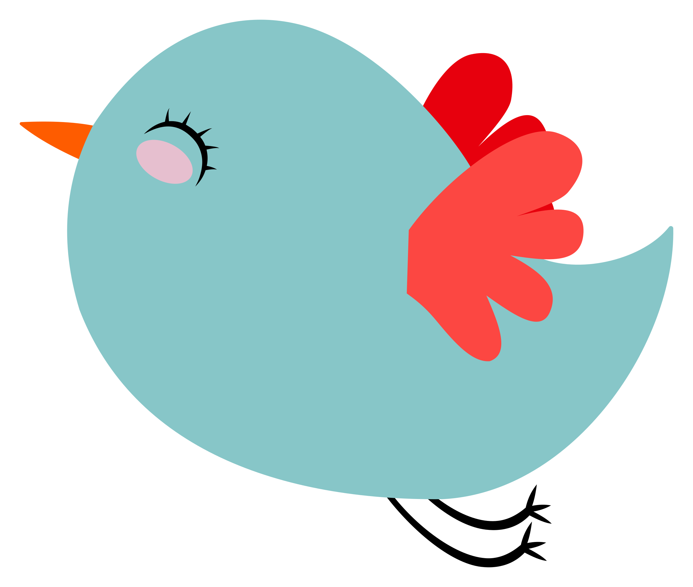 Pretty clipart bird. Cute teal with red