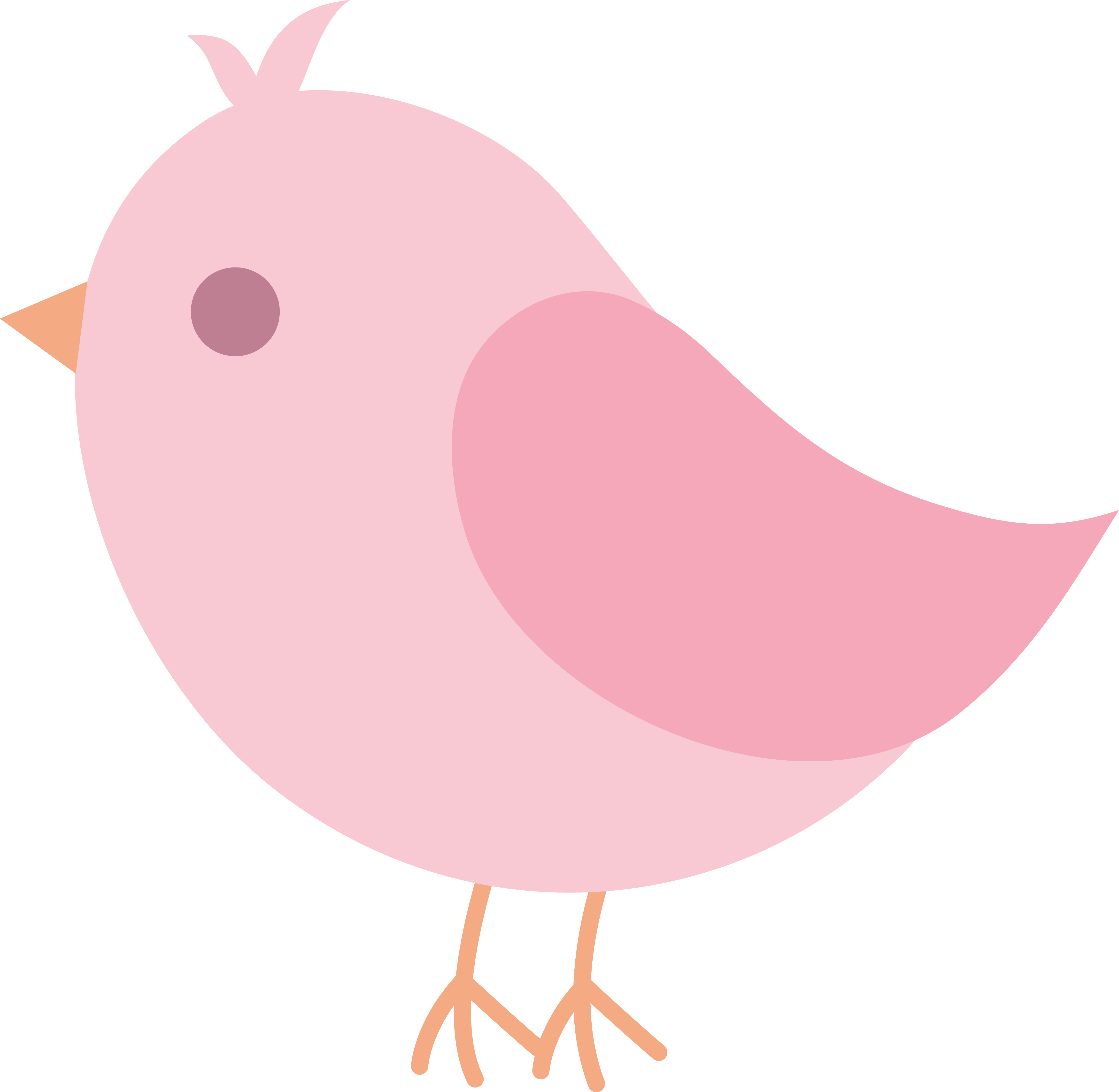 Pretty clipart bird. Cute pink