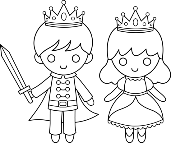 Princess clipart coloring. Prince and page fairy