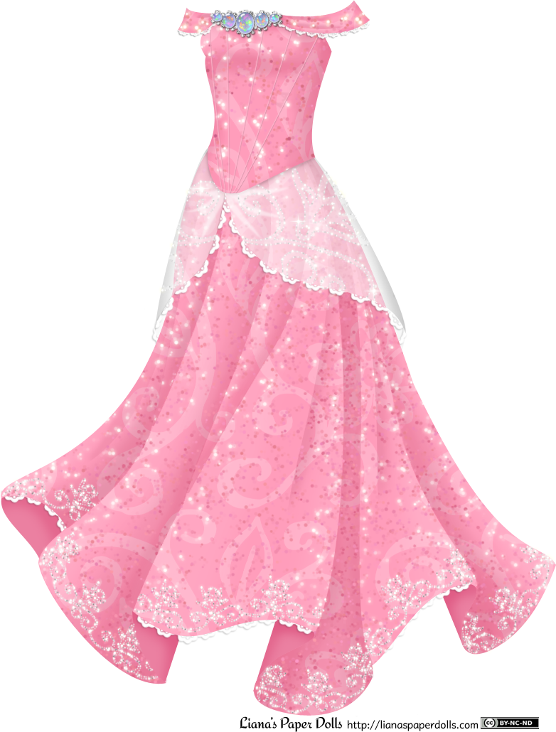 Princess dress png. Pink gown with opals