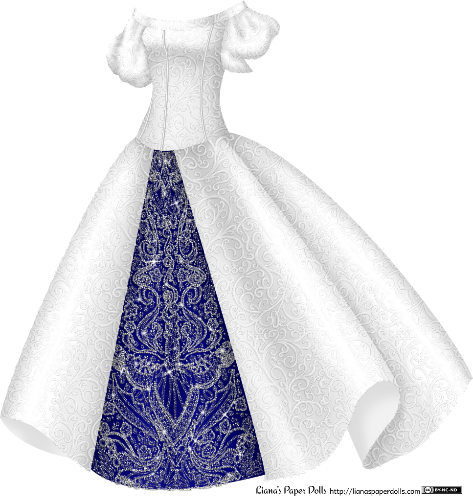Princess dress png. Silver gown with blue