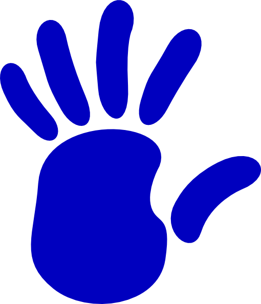 Print clipart right hand. Blue clip art at
