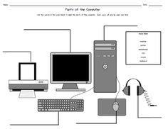 Printer clipart computer component. Color the parts worksheet