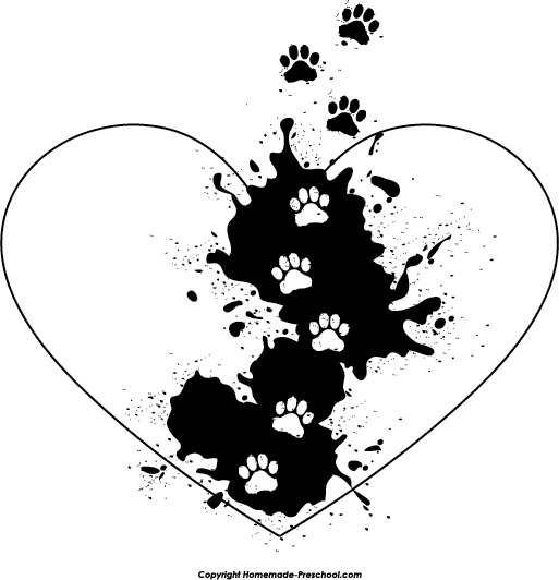 Dog paw heart png. Free prints clipart click