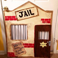 Prison clipart booth. Cardboard jail and cactus