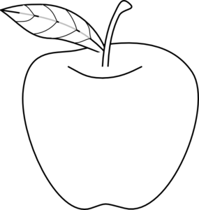 Produce vector clip. Apple outline art at