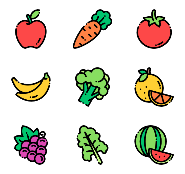 Produce vector healthy. Food icons free fruits
