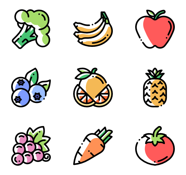 Produce vector icons. Pineapple free fruits and