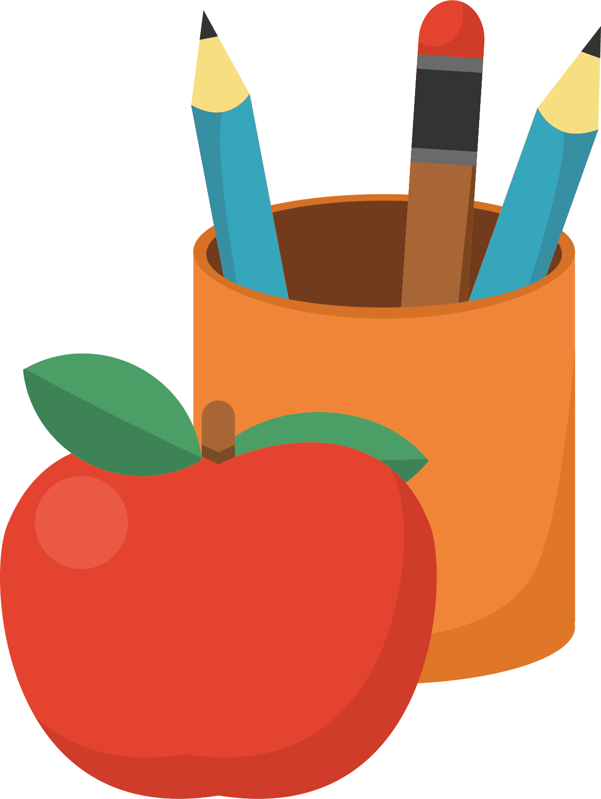 Produce vector illustration. Pencil brush pot orange