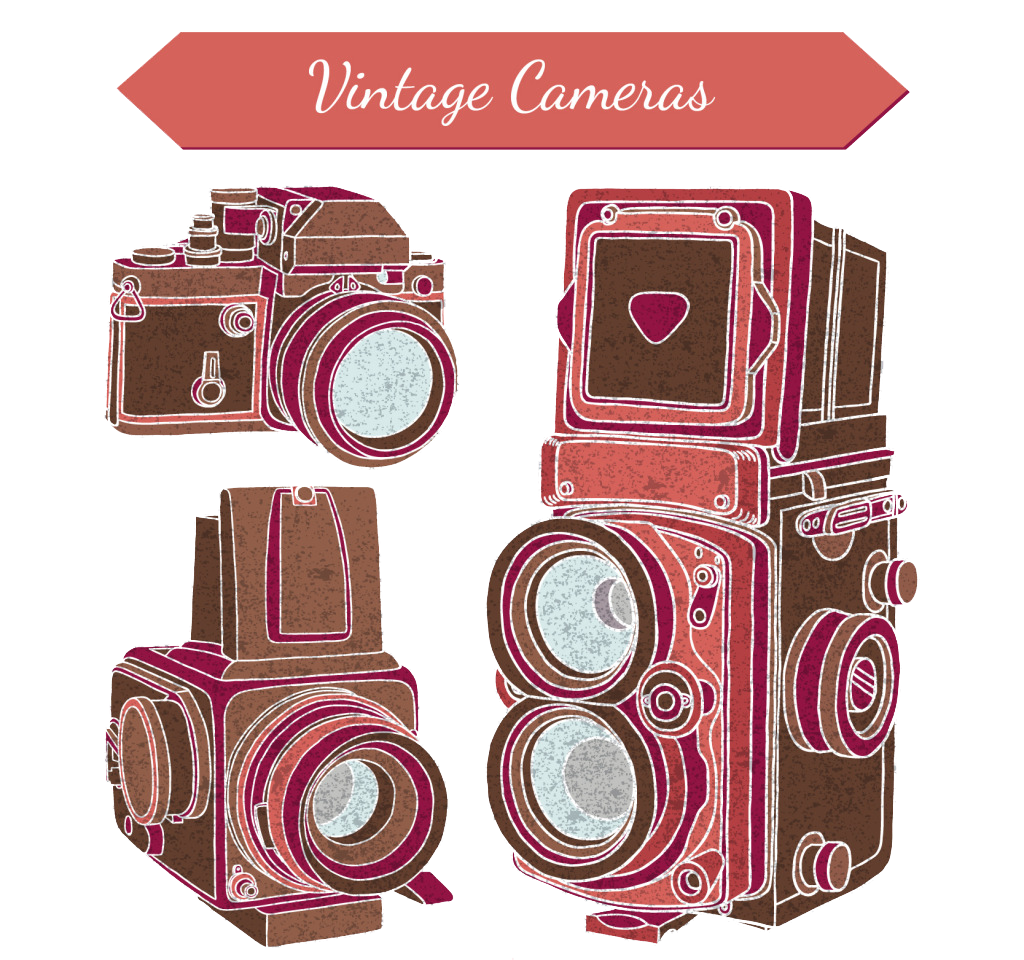Product drawing camera. Photography old photo transprent
