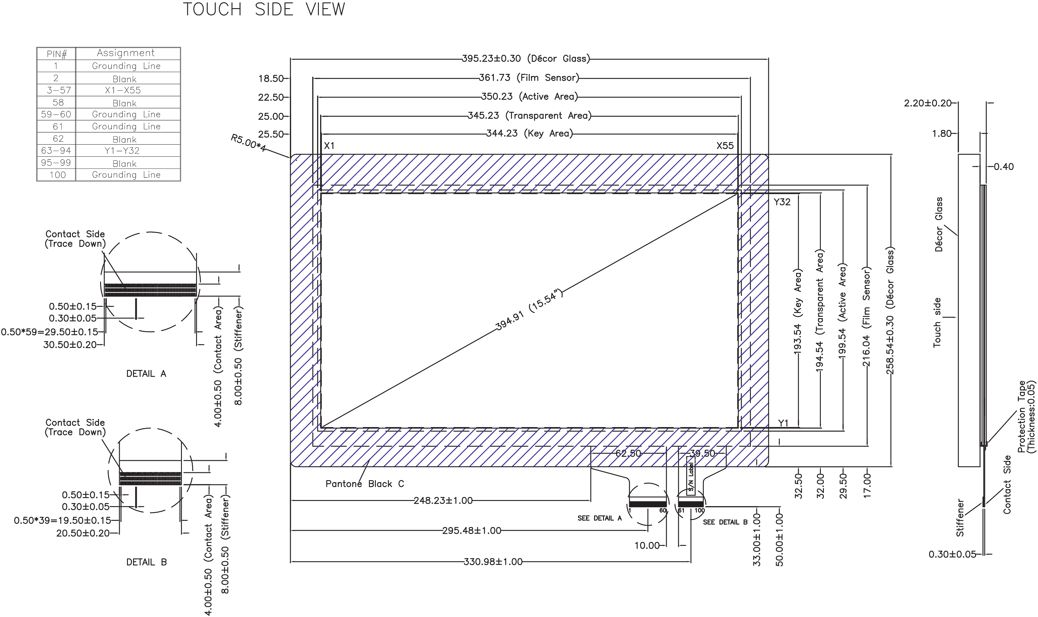 Product drawing engineering. Design line glass display