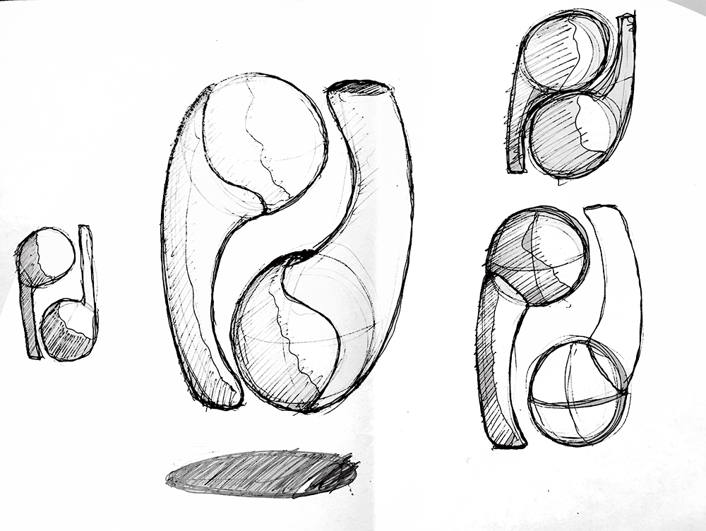 Product drawing industrial design. Apple earpod on student