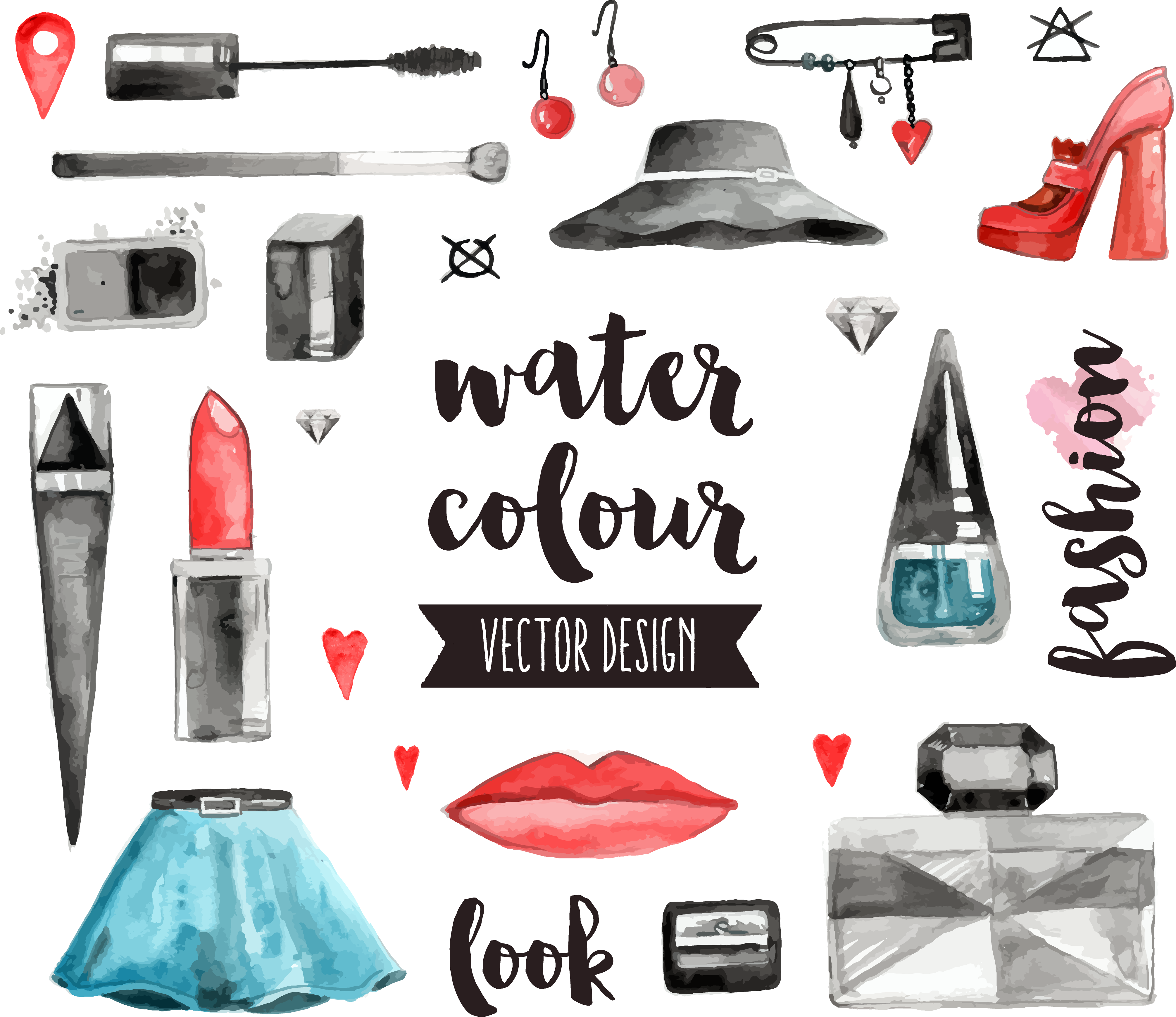 Product drawing makeup. Collection of free download