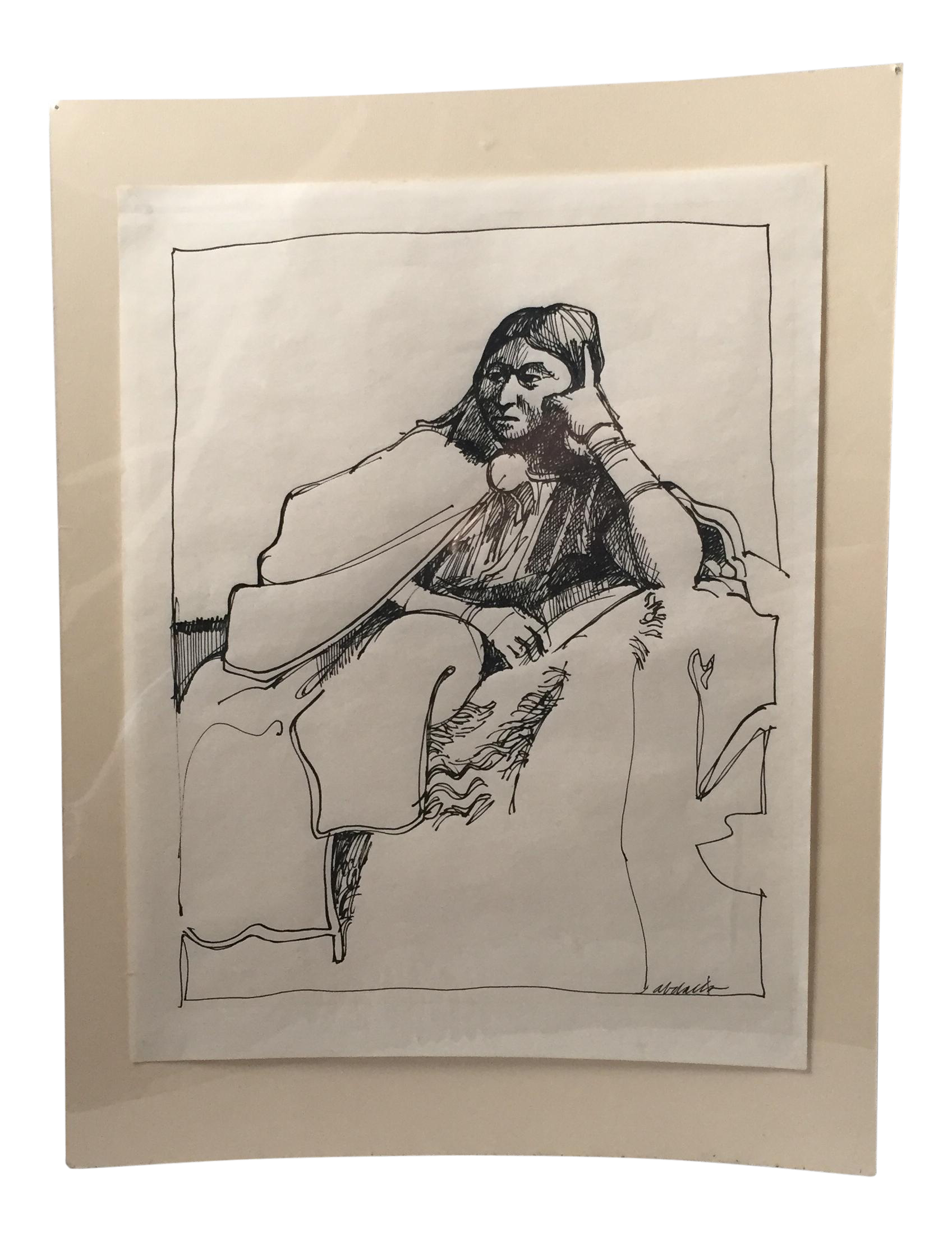 Venice drawing pen and ink. Sitting woman chairish