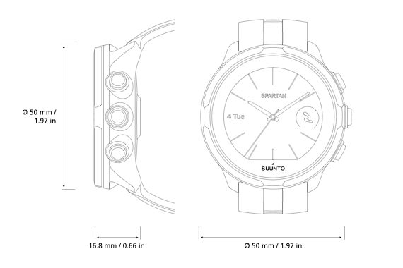 Product drawing wrist watch. Suunto spartan sport hr