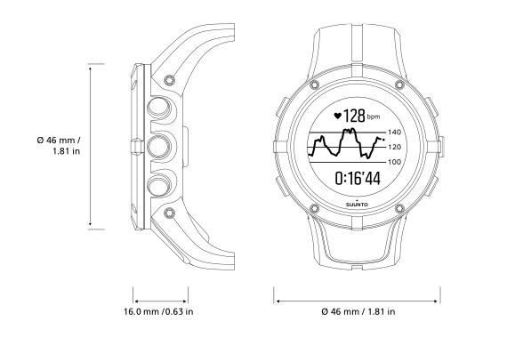 Product drawing wrist watch. Suunto spartan trainer hr