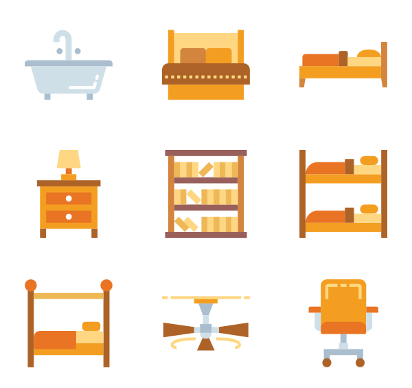 Vector furniture psd. Bathroom icons free