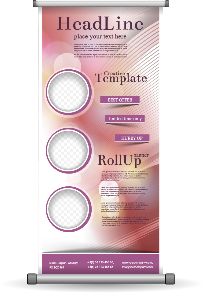 Product vector beauty. Euclidean roll up display