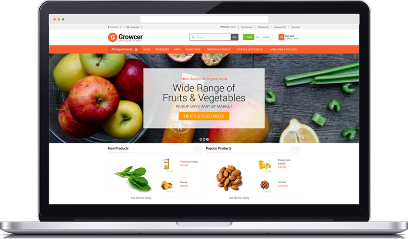 Storefront vector super market. Grocery mobile app and