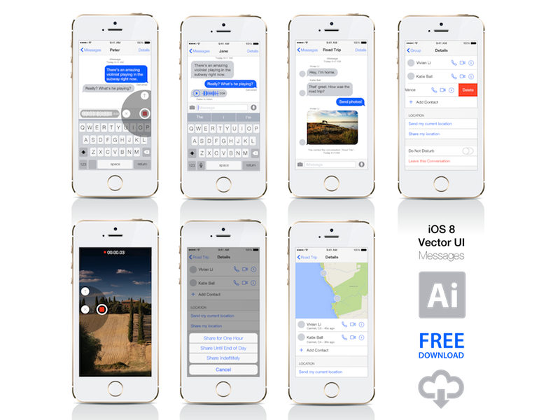 Product vector iphone. Ios messages ui free