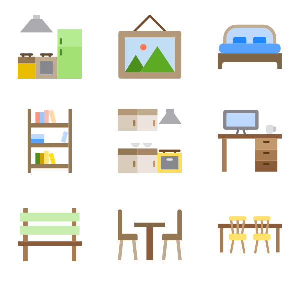 Product vector kitchen. Icons free furniture and