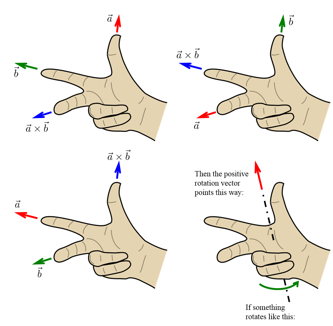 Product vector right hand rule. Angular momentum force at